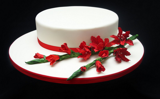 Gladiolus Flowers Wedding Cake