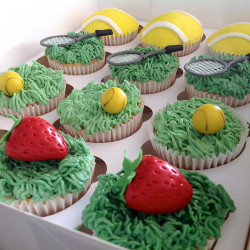 Strawberry and Tennis Cupcakes