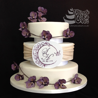 3 Tier purple orchid Wedding Cake