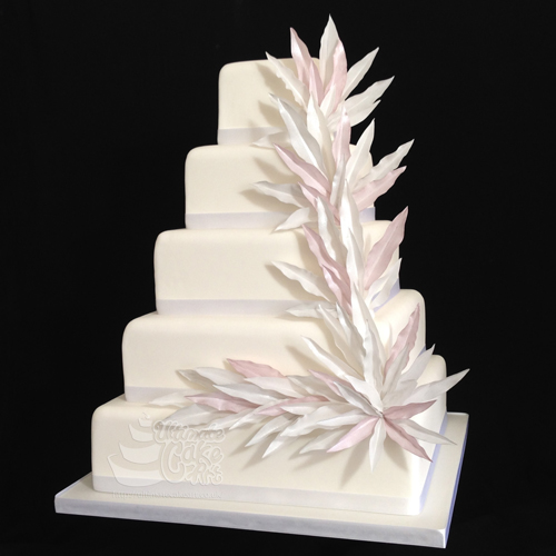 White 5- Tier Wedding Cake
