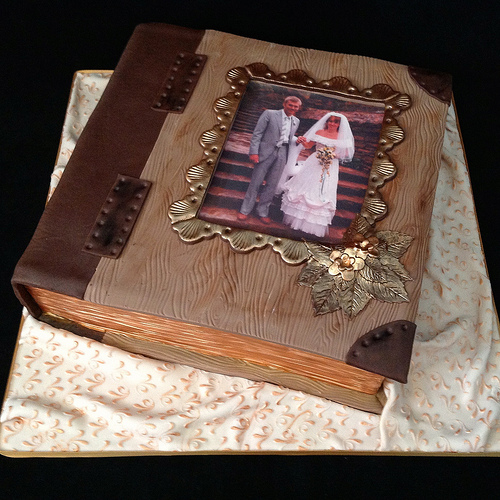 Photo Album Anniversary Cake