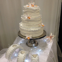Orchid Bridal Gown Wrap Cake